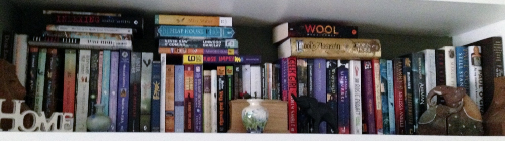 Overflowing bookshelf