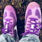 Purple training shoes